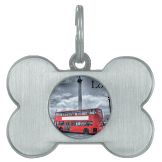 LONDON BUS in Black & White (St.K) Pet ID Tags