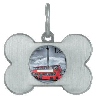 LONDON BUS in Black & White (St.K) Pet Name Tag