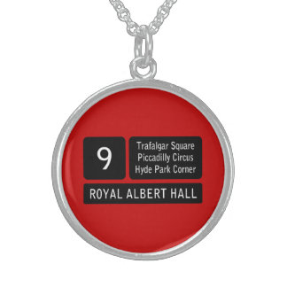 London Bus Route Sign Sterling Silver Necklaces