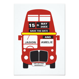 London Bus Save the Date card personalised 13 Cm X 18 Cm Invitation Card