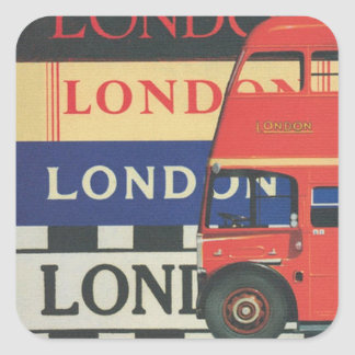 London bus square sticker