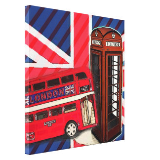 london bus telephone booth british fashion canvas print