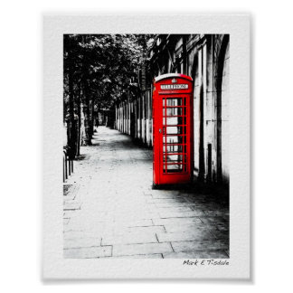 London Calling - Red British Phone Box - Mini Poster
