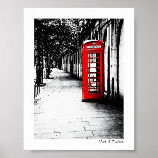 London Calling - Red British Phone Box - Mini Poster
