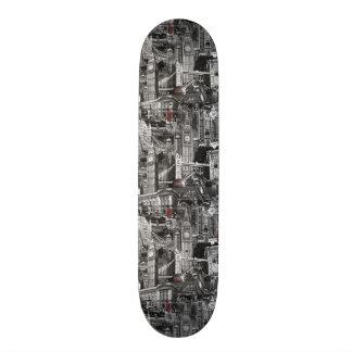london city black & white skateboard deck