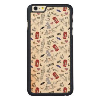 London City Doodles Pattern Carved Maple iPhone 6 Plus Case