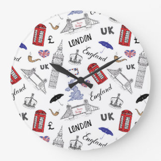 London City Doodles Pattern Clocks