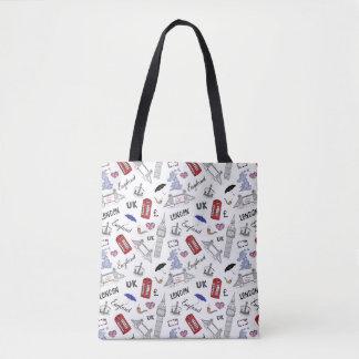 London City Doodles Pattern Tote Bag