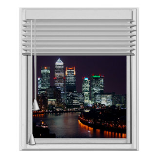 London City View Fake Window With Blinds Poster
