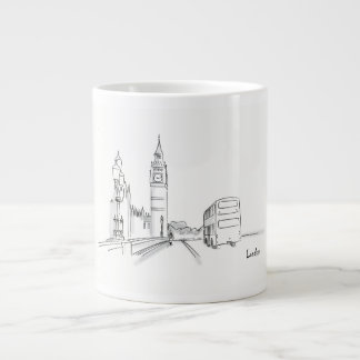 London Classy Elegant Sketch Simple Drawing Chic Large Coffee Mug