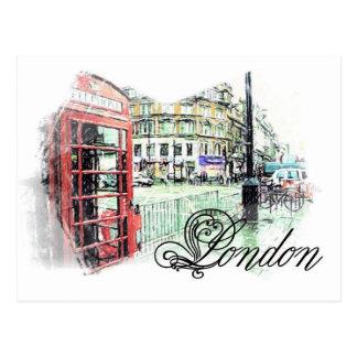 London Colored  Sketch Postcard
