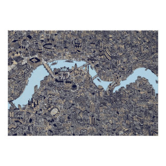 london detailed map thames drawing color poster