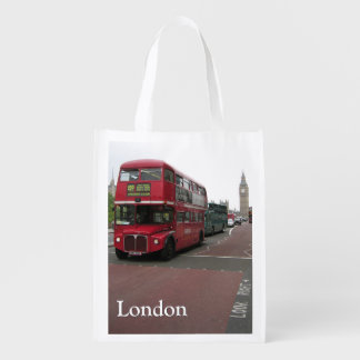 London Double-decker Bus Reusable Grocery Bag
