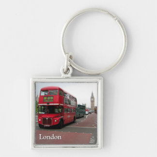 London Double-decker Bus Silver-Colored Square Key Ring
