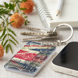 London Double-Sided Rectangular Acrylic Key Ring