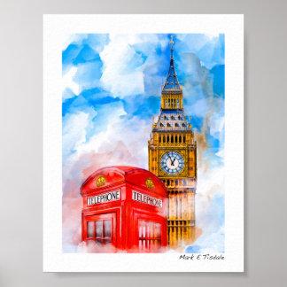 London Dreams Big Ben And Classic phone Box - Mini Poster