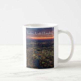 London dusk aerial photograph cup