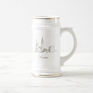 London Elegant Golden White Sophisticated England Beer Stein