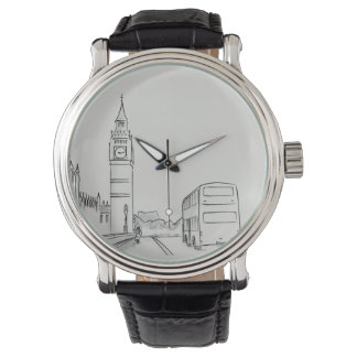 London Elegant Sketch White Sophisticated England Watch