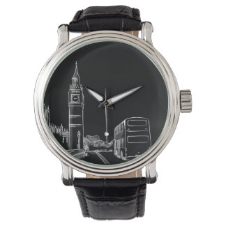 London England Black Big Ben Sketch Stylish Simple Watch