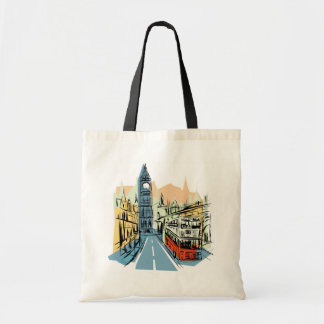 London England city scape reusable grocery bag