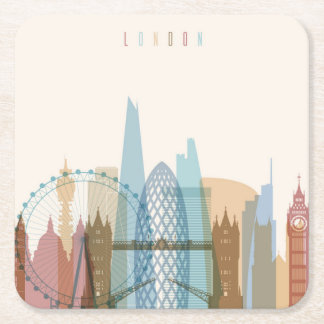 London, England | City Skyline Square Paper Coaster