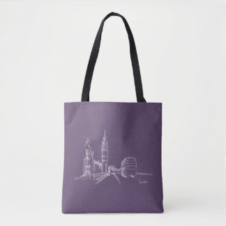 London England Elegant Drawing Simple Nostalgic Tote Bag