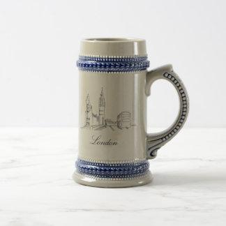 London England Elegant Simple Sophisticated Sketch Beer Stein