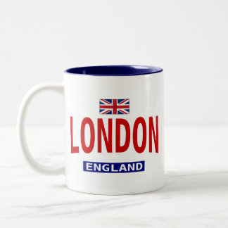 London England flag and phrase Two-Tone Coffee Mug