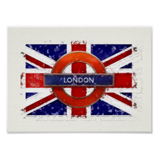 London, England, Great Britain, Union Jack, Flagge Poster
