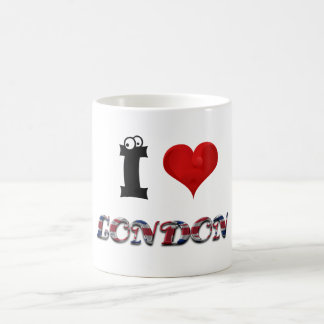 London England Heart British Flag Typography Coffee Mug
