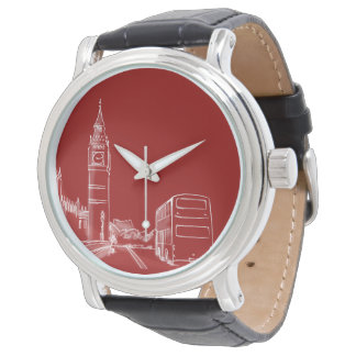 London England Red Big Ben Sketch Elegant Simple Watch