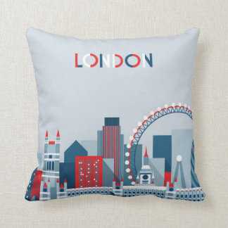 London, England | Red, White and Blue Skyline Cushion