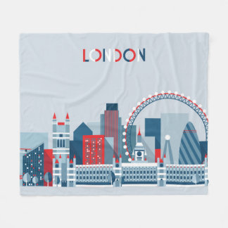 London, England | Red, White and Blue Skyline Fleece Blanket
