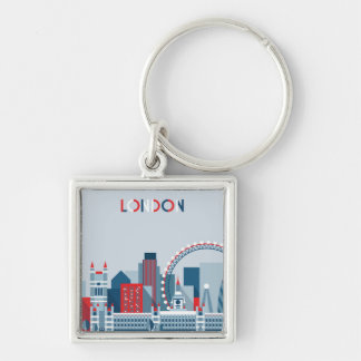 London, England | Red, White and Blue Skyline Key Ring