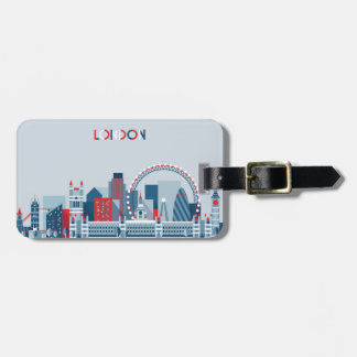 London, England | Red, White and Blue Skyline Luggage Tag