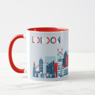 London, England | Red, White and Blue Skyline Mug