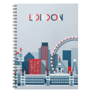 London, England   Red, White and Blue Skyline Notebooks