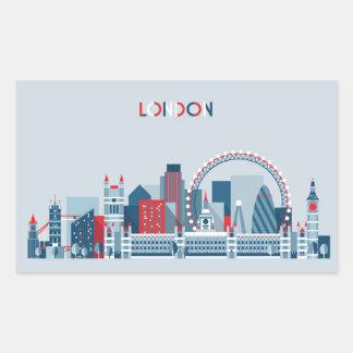 London, England | Red, White and Blue Skyline Rectangular Sticker