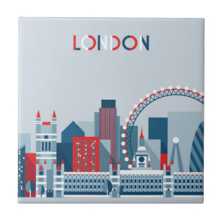 London, England | Red, White and Blue Skyline Tile