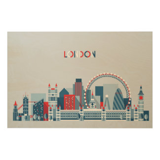 London, England   Red, White and Blue Skyline Wood Wall Art