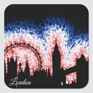 London England Silhouette Square Sticker