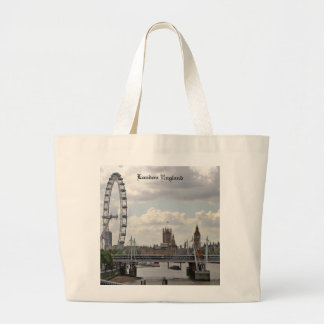 London England Skyline, Big Ben, London Eye,Thames Large Tote Bag