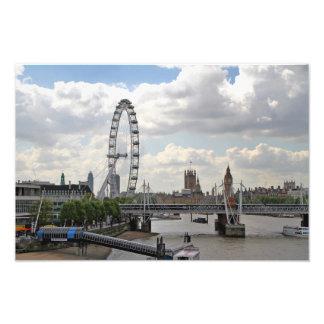 London England Skyline, Big Ben, London Eye,Thames Photo Print