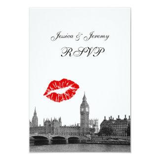 London England Skyline Kiss BW RSVP #1 Menu 9 Cm X 13 Cm Invitation Card