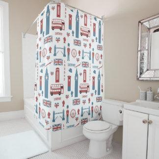 London England Symbols Pattern Shower Curtain