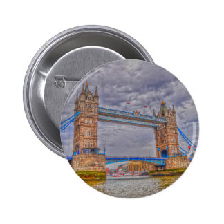 London, England Tower Bridge & Thames River 6 Cm Round Badge