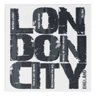 London, England Typography Acrylic Wall Art