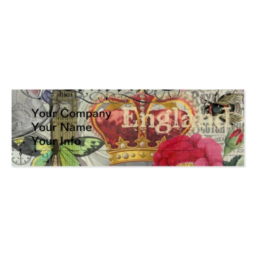 London England Vintage Travel Collage Business Card Template