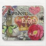 London England Vintage Travel Collage Mousemat